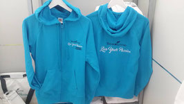 "Lightweigt Sweater Jacke türkis                           ""Live your Passion"""