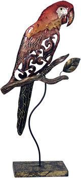 Papagei aus Metall mit Perlglanzlasur