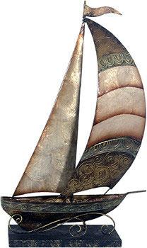 Schiff braun aus Metall mit Perlglanzlasur