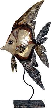 brauner Fisch aus Metall mit Perlglanzlasur