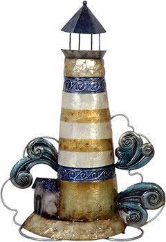 Leuchturm blau aus Metall mit Perlglanzlasur