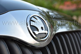 SKODA Emblem Logo glänzend CHROM/SCHWARZ (vorne) - original - SKODA YETI