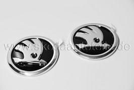 SKODA Emblem Logo glänzend CHROM/SCHWARZ (V+H) - original - SKODA OCTAVIA III