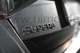 "BLACK Schriftzug Emblem Heckklappe ""SUPERB"" - original - SKODA SUPERB"