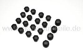 16 + 4 Radschraubenkappen BLACK MATT (ohne Abzieher) - original - SKODA, VW, AUDI