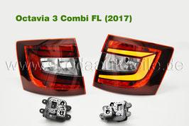 LED Rückleuchte KIRSCHROT + Lampenträger (L+R) - original - SKODA OCTAVIA III Facelift (5E) Combi