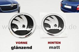 SKODA Emblem Logo glänzend/matt (V+H) - original - SKODA FABIA II, ROOMSTER, OCTAVIA II