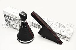 Schaltknauf (matt) + Verkleidung 5-GANG + Handbremshebel (Feinleder) - rote Nähte - original - SKODA FABIA II