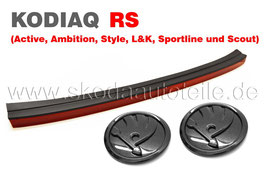 RS Rückstrahler + Grundträger + Emblem BLACK (V+H) - original - SKODA KODIAQ