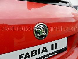 SKODA Emblem Logo CHROM/SCHWARZ (hinten) - original - SKODA OCTAVIA II, FABIA II, ROOMSTER