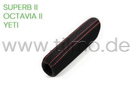 Handbremshebelgriff in Leder für Fahrzeuge mit Jumbo-Box (rote Nähte) - original - SKODA OCTAVIA II, YETI