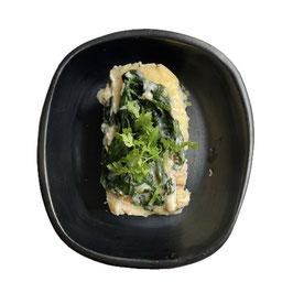 Ovenschotel met spinazie en prei