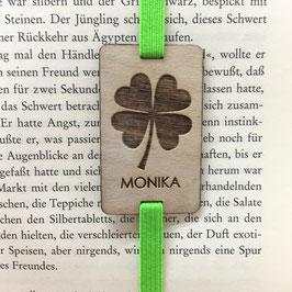 Lesezeichen mit Gummiband knallgrün *Kleeblatt + individueller Name*