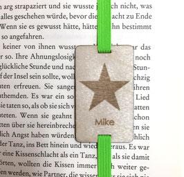 Lesezeichen mit Gummiband knallgrün *Stern + individueller Name*