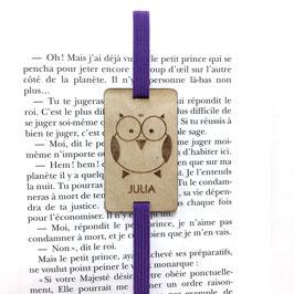 Lesezeichen mit Gummiband lila *Eule*