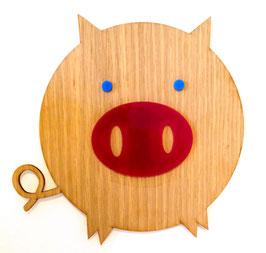 Holz-Schweinchen Wanddeko