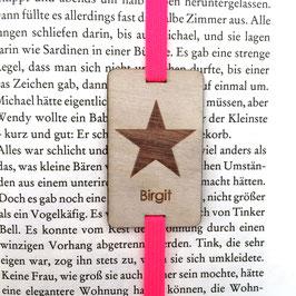 Lesezeichen mit Gummiband knallpink *Stern + individueller Name*