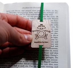 Lesezeichen mit Gummiband grün *Lesefröschchen*