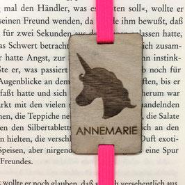 Lesezeichen mit Gummiband pink *Einhorn + individueller Name*