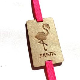 Lesezeichen mit Gummiband knallpink *Flamingo + individueller Name*
