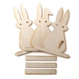3 grosse Osterhasen aus Holz-Bastelset-Kinder