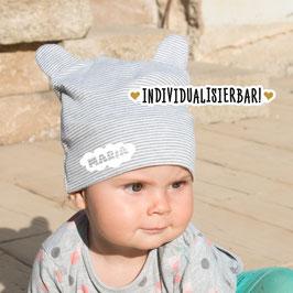 """Babymütze Motiv """"Wolke"""" mit Namen, individualisiert"""