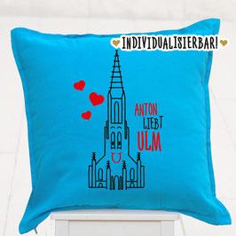 """Kissen, individualisiert, """"… liebt Ulm"""""""