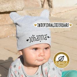 Babymütze mit Namen, individualisiert