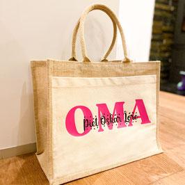 Shopper-Tasche Jute, Motiv Oma