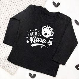 Baby-Langarm-Shirt Koala mit Wunschname und Geburtstagszahl