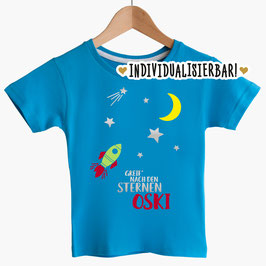 """Kinder T-Shirt """"Greif nach den Sternen"""" mit Namen und Rakete"""