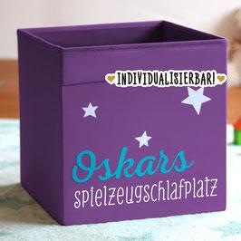 """Spielzeugkiste personalisiert mit Name und mit Aufdruck """"Spielzeugschlafplatz"""""""