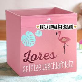 """Flamingo-Spielzeugkiste personalisiert mit Name und mit Aufdruck """"Spielzeugschlafplatz"""""""
