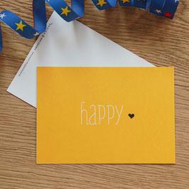 """Grußkarte, Postkarte """"happy"""" zum Versenden oder Dekorieren"""