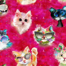 Patchworkstoff - 3Wishes Fabric - Katzenstoff- A Good Kitty
