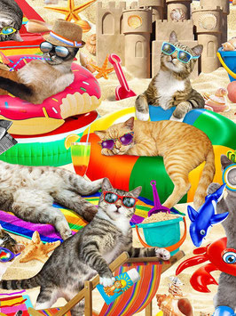 Timeless Treasures - Cool Cats - Cats chilling on the beach - Katzen relaxen am Strand - Patchworkstoff