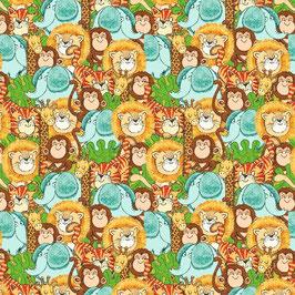 FLANELL - Löwen-Elefanten-Affen-Katzen - Playful Cuties