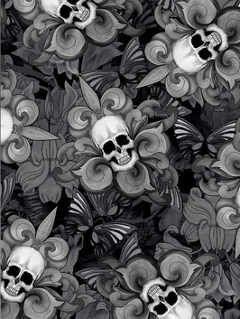 Timeless Treasures - Last Dance - Tossed Skull Fleur de Lis - Vida y Muerte - Totenköpfe auf Schwarz - Patchworkstoff