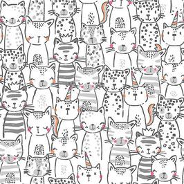 Michael Miller - A Pawsome Bunch - Meowgical - Süße Katzen auf Weiß - Patchworkstoff
