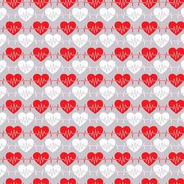 Henry Glass Fabrics - Jonny Javeline - Big Hugs - Herzen rot und weiß auf Grau - Patchworkstoff