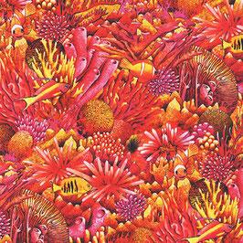 Robert Kaufmann - Carolyn Steele - Coral Canyon - Ember- Fische in einem Korallenriff - Patchworkstoff