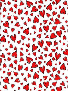 Timeless Treasures - Rote Herzen mit schwarzem Rand auf Weiß - Kreidemalstil - Patchworkstoff