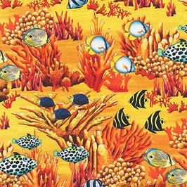 Robert Kaufmann - Carolyn Steele - Coral Canyon - Turkish Sea - Fische zwischen Korallen - Patchworkstoff