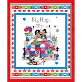 Henry Glass - Big Hugs by Jonny Javelin - Hund im Krankenbett mit Kätzchen als Krankenschwestern - Panel - Patchworkstoff