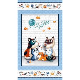 Michael Miller - Feline Friends - PANEL - Katzen - Patchworkstoff
