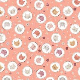 Camelot Fabrics - CDS & Laura Marschall - Smitten Kitten - Embroidery Hopp Toss - Katzenköpfe auf Pink - Patchworkstoff