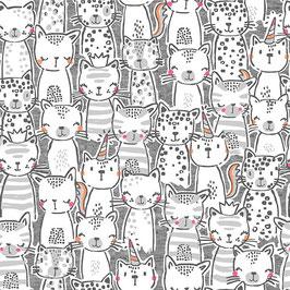 Michael Miller - A Pawsome Bunch - Meowgical - Süße Katzen auf Grau - Patchworkstoff