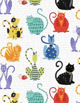 Wilmington Prints - Feeline Good - Katzen, Mäuse und Herzen in Bändern - Patchworkstoff