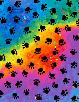 Patchworkstoff - Katzenpfoten Regenbogenfarben- Timeless Treasures