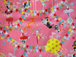 Kokka Circus of Wonders Pink - Zirkus Stoff mit Glitzer